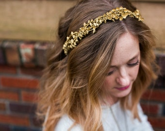 Antique Gold Lilly of the Valley Circlet Halo. Flower hair Crown, Wedding, Bohemian,Tiara, spring, Bridal Headpiece, gold headpiece