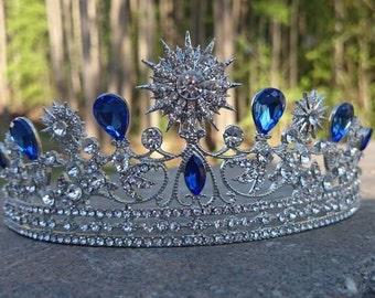 Bridal Tiara, Bridal Crown, Sapphire Blue Tiara, Something Blue Tiara, Wedding Tiara, Blue Sapphire Tiara, Diamante, Swarovski Crystal Tiara