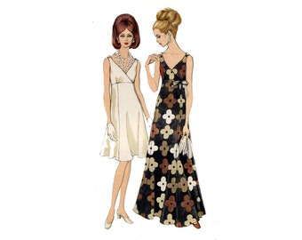 1960s Evening Dress Pattern Surplice Empire Waist Flared Dress Cocktail or Formal Bow Trim Vogue 7477 Bust 32 Vintage Sewing Pattern