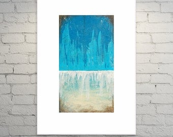 Abstract Painting Contemporary Landscape Blue, Taupe, Neutral Fine Art on Canvas 18x36