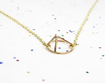 Delicate Oval Geometric Mountain Necklace