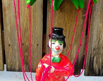 Vintage Paper Mache Clown and Parachute  Made in Mexico