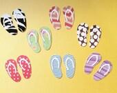 "Flip Flops, 7 of Them, Striped, Polka Dots, Chevron, Flowerrs, 2"", Beach, Florida, Vacation, Cardstock"