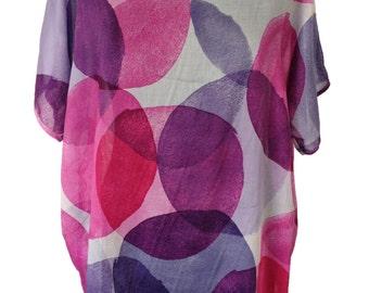 Oversize Cotton Shirt, Plus Size Shirt, Polka Dots Shirt, Women Blouse, Designers Shirt, Summer Shirt, Natural Fabric, Purple Shirt