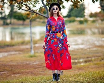 Vintage 70s Botanical Dress Red Long Tropical Colorful Zipper Dress