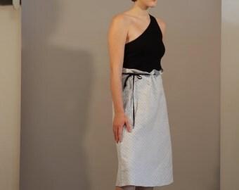 1980s Hobbs pale blue gingham A-line midi skirt