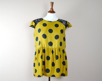 Polka dot shirt, mustard shirt, tunic, plus size tunic, womens tunic, boho tunic, lace shirt, womens clothing, bohemian top, bohemian tunic