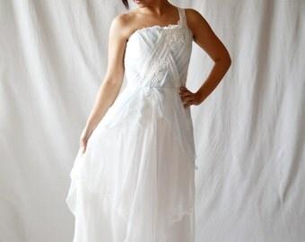Wedding dress, Light blue wedding dress, Silk wedding dress, Fairy wedding dress, Beach wedding dress, Boho wedding dress