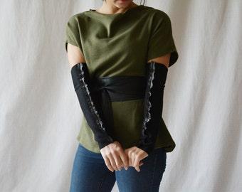Black gloves, fingerless gloves, black mittens, gifts for her, fingerless mittens, steampunk gloves, arm warmers, arm warmers long