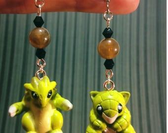 Sandshrew and Sandslash Pokemon Earrings - Pokemon Jewelry