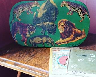 Vintage Kids' Natural History, Animals, Nature Footstool, Kids Bench