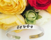 Exclusive Sign Language Jewelry - Name Cuff Bracelet - Hand Stamped Stacking Bangles Personalized Cuff Bracelet - ASL Jewelry - Sign Jewelry