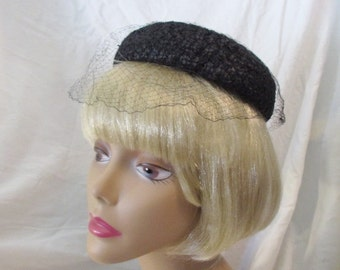 Hat/Pillbox Style/1960's/Black/Evelyn Varon Exclusive Design