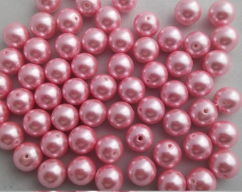 10 Beads -  14mm Light Pink Glass Pearls, gumball beads