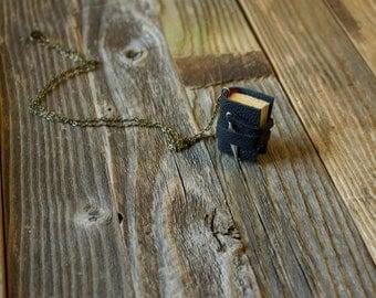 Raven Book Necklace Mini Book Pendant Poe Poem Bibliophile Book lover English Major Edgar Allan Poe Miniature Book Jewelry Literature