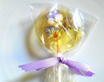 Gourmet Liquor Champagne Lollipops, Cordial Alcohol Choice Viola, Edible Giant Lollipops, Candied Real Flowers, Wedding Favors