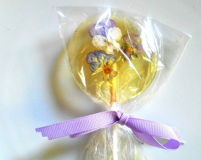 Gourmet Liquor Champagne Lollipops, Cordial Alcohol Choice Viola, Edible Giant Lollipops, Candied Real Flowers, Wedding Favors
