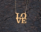 LOVE Statue Necklace , Gold Love Charm , Romantic Gift for Her , Love Jewelry , Love Pendant , Love Statue Charm , Valentines Day Gift