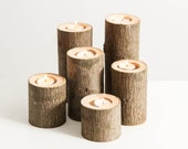 Tree Branch Candle Holders Set of 6- Rustic Wood Candle Holders, Tree Slice, Woodland Candle Holders