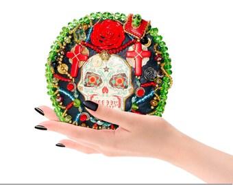 Minaudiere Beaded wrist bag clutch Goth Hard case wristlet Red Black Enening purse leather Framed Box Sugar skull Party Halloween Jewel Gilt