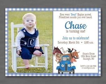 Little Blue Truck Birthday Party Photo Invitation--Printable Invitation; Blue Gingham