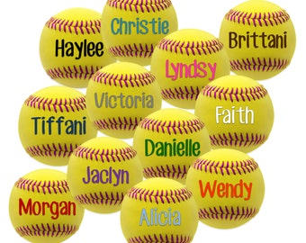 Softball Clipart ~ Yellow Softball with Pink Threads ~ 12 Personalized Images with Your Players' Names, Your Choice of Text Color