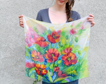 Hand painted shifonscarf, poppies garden, flower scarf, gift for little girl