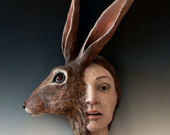 Startle, Sunder - Figurative Sculpture - Ceramic Wall Art - Narrative Art - Chimera - Rabbit Woman - Hare and Female - Fine Art