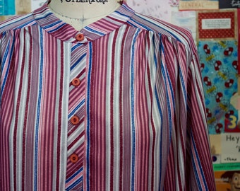 XMAS in JULY SALE : 1970s striped blouse