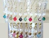 Petite Double Crystal & Gold Filigree Dangle Earrings, Handmade Original Fashion Jewelry, Demure Simple Delicate Custom Wedding Accessories