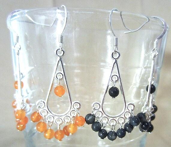 Silver Teardrop & Semi-Precious Stone Chandelier Earrings, Handmade Original Fashion Jewelry, Bold Exotic Eastern Inspired Ladies Gift Idea