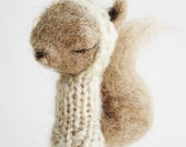 Finger Puppet Soft Toy - SQUIRREL, needlefelted from wool and knitted with yarn, neutral colors
