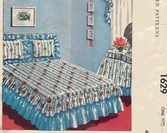 Vintage 1950s Bedspread Sewing Pattern, Ruffled Bedspread, Bed Skirt, and Shams Pattern, Midcentury Home Decor, Bedroom Decor Sewing Pattern