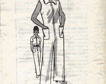 Vintage Womens Jumpsuit Pattern, Womens Mechanic Suit Pattern, Womens Romper Pattern, Anne Adams Mail Order Pattern, Size 16, Bust 39