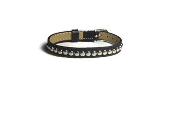 Studded Genuine Leather Wristband  -  Black Leather Bracelet - Studded Black Leather Buckle Bracelet - Adjustable Studded Leather Bracelet