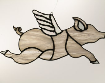 Stained Glass Pig with Wings Suncatcher - FREE SHIPPING