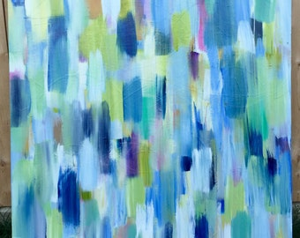 Large blue, green and white abstract painting, original abstract art, large abstract wall decor by Laney Espenlaub