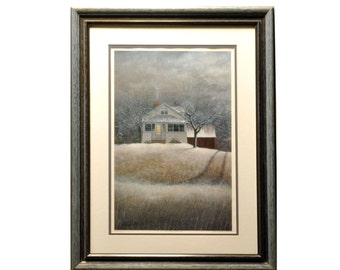 "David Knowlton Lithograph Print ""Winter Night"" - Signed Limited Ed 776 of 1000 Framed Print - Office Artwork - Winter Art - Ready to Hang"