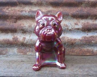 Large Vintage Glass Bulldog Door Stop REPRODUCTION Westmoreland Glass French Bulldog Ruby Red Carnival Glass Huge Glass Dog Vintage