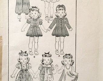"""Vintage 1940s Butterick 20"""" Doll Clothing Pattern 456"""