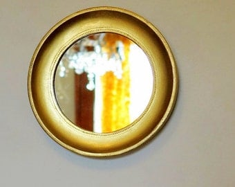 Gold Porthole Mirror Carved Gilt Wood Frame Round Wall Mirror