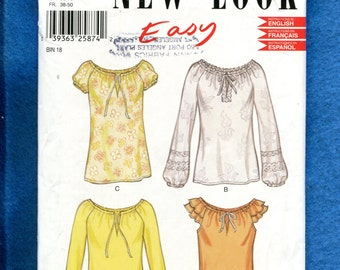 New Look 9179 Chic Peasant Blouses with Sleeve Variations Size 10 to 22 UNCUT