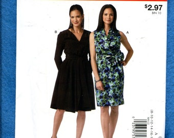 McCall's 9122 Fitted Dresses with Surplice Bodice & Sash Size 8 to 24 UNCUT