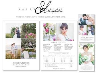 Wedding Photography PRICE GUIDE with BUSINESS Card, Photoshop Marketing Templates for Photographers, Marketing Template, Instant Download