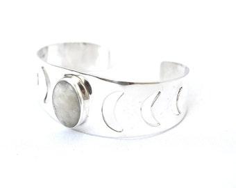Moon Shadows Cuff | Heart Majestic | Moon Stone Cuff | Moon Jewelry | Moon Calendar Gifts | Moon Bangle | Crescent Moon Cuff Bracelet