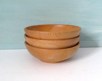 Set of 3 Solid Wood Turned Bowls