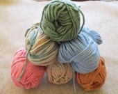 Cotton Yarn 6 Balls Leftovers Blue, Pink, Tan, Green, Variegated Sugar and Cream 4 Ply Worsted Weight Total Wt. 7 ozs.
