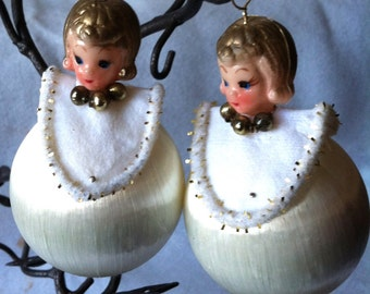 """Vintage 50's """"SILK SATIN SHEEN""""  Ornaments Set of Two - Made in Japan"""