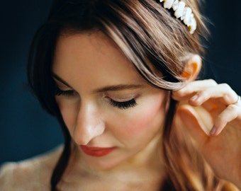 Bridal Headband, Bridal Headpiece, Pearl and Rhinestone Headband -Style 5916