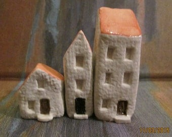 miniature town houses 3 mini city houses handmade  see all 4 sets to create entire town rustic